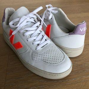 Veja Shoes - Madewell x Veja V-10 Leather Sneakers Lilac Orange